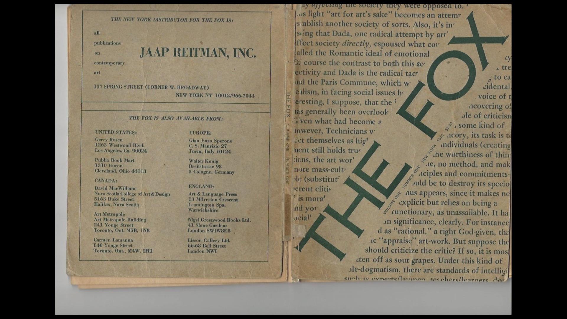 "Narelle Jubelin. ""The Fox. 1975. Con contribuciones de Michael Baldwin, Joseph Kosuth, Ian Burn, Adrian Piper, Mel Ramsden, Terry Atkinson et al. 265x205 mm. 152 pp. impreso en papel de periódico con tapa de tarjeta"". 2020"
